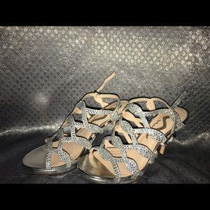 Nina silver 3 inch open toe heels